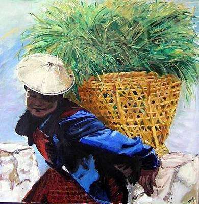 Bhutan Painting - Bhutanese Woman by Wendi Strauch Mahoney
