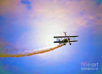Bi-plane And Wing Walker Art Print by Tom Jelen