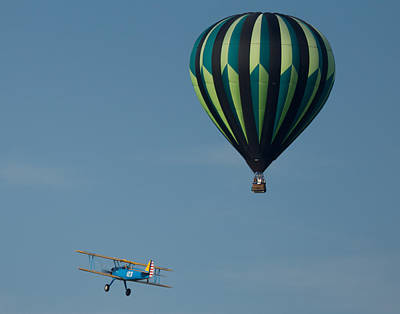 Photograph - Bi-plane Flying By Balloon by Leah Palmer