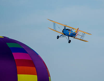 Photograph - Bi-plane Flying Over Balloon by Leah Palmer