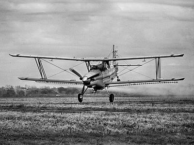 Photograph - Bi-winged Crop Duster B N W by Charles McKelroy