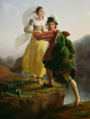 Romeo And Juliet Painting - Bianca Cappello Fleeing With Her Lover Francesco De Medici by Louis Ducis