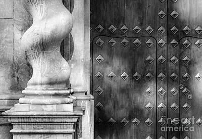 Historic Architecture Photograph - Bibataubin Palace Door In Granada Spain Bw by Guido Montanes Castillo