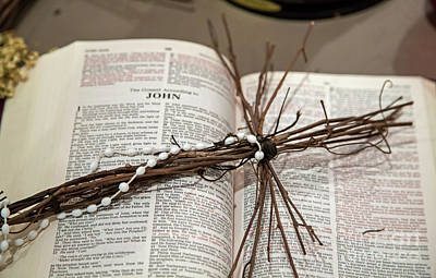 Photograph - Bible And Cross by Jim West