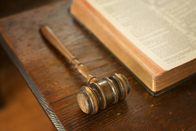 Religious Artist Photograph - Bible And Gavel by Donald  Erickson