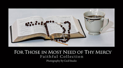 Photograph - Bible And  Rosary by Cecil Fuselier