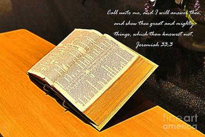 Bible Photograph - Bible Jeremiah 33  3 by J Darrell Hutto