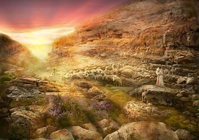 Bible - Psalm 23 - Yea, Though I Walk Through The Valley 1920 Art Print
