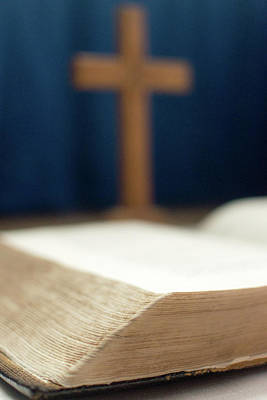 Photograph - Bible With Blurred Cross In Background B by Jacek Wojnarowski