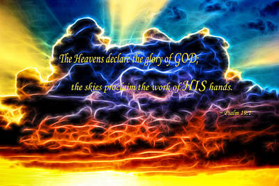 Print featuring the photograph Biblical Electrified Cumulus Clouds Skyscape - Psalm 19 1 by Shelley Neff