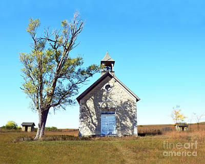 Flint Hills Of Kansas Photograph - Bichet School In Autumn by Catherine Sherman