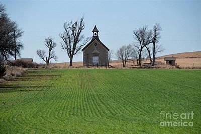 Flint Hills Of Kansas Photograph - Bichet School With Winter Wheat by Catherine Sherman