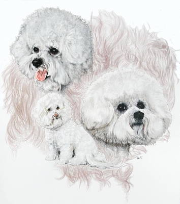 Sporting Mixed Media - Bichon Friese W/ghost by Barbara Keith