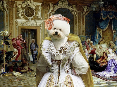 Painting - Bichon Frise Art Canvas Print - Jesters Of Empress by Sandra Sij