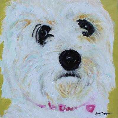 Painting - Bichon Frise-king Charles Cavalier Spaniel Mix - Molly by Laura  Grisham