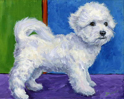 White Dog Painting - Bichon Frise Standing Sideways by Dottie Dracos
