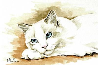 Painting - Bicolor Ragdoll Cat Portrait by Dora Hathazi Mendes