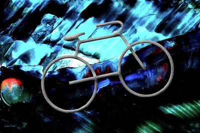 Photograph - Bicycle Abstract Art Blue by Lesa Fine