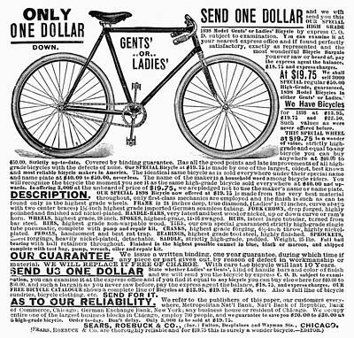 Photograph - Bicycle Advertisement, 1898 by Granger