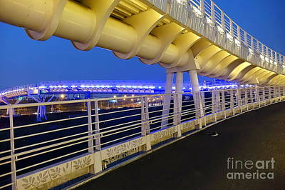 Art Print featuring the photograph Bicycle And Pedestrian Overpass by Yali Shi