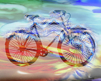 Bicycle And Speed Watercolor Silhouette Art Print by Irina Sztukowski