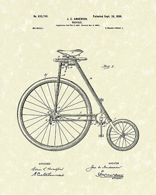 Bicycle Art Drawing - Bicycle Anderson 1899 Patent Art by Prior Art Design