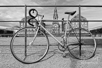Photograph - Bicycle At Christiansborg Palace, Black And White by Catherine Sherman
