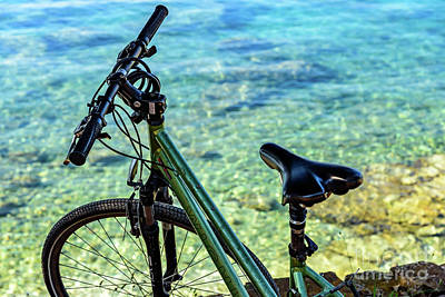 Photograph - Bicycle By The Adriatic, Rovinj, Istria, Croatia by Global Light Photography - Nicole Leffer