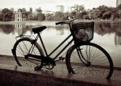 Black And White Horse Photography - Bicycle by the Lake by Dave Bowman
