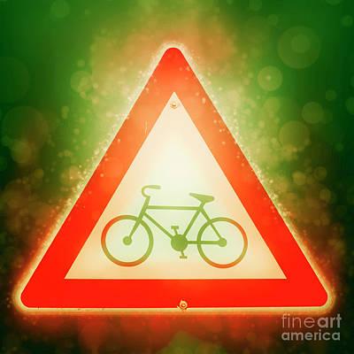 Bicycle Caution Sign Enhanced  Art Print by Ilan Rosen