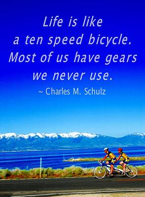 Photograph - Bicycle Charles M Schulz Quote by Bob Pardue