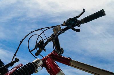 Bicycle Handle Bars Against Blue Sky Art Print