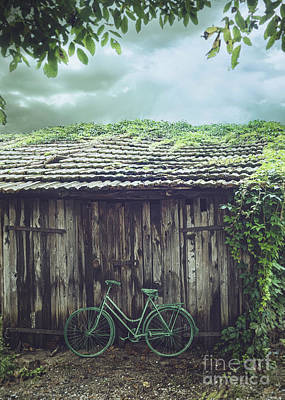 Old Wood Outhouse Photograph - Bicycle In Front Of Barn by Mythja Photography