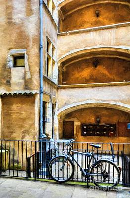 Stone Buildings Photograph - Bicycle In Old Town Lyon by Mel Steinhauer