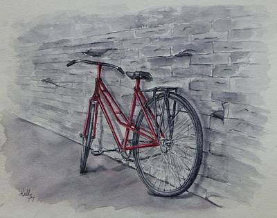 Painting - Bicycle In Red by Kelly Mills