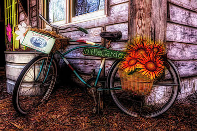 Photograph - Bicycle In The Garden Art In Vibrant Colors And Sunflowers by Debra and Dave Vanderlaan