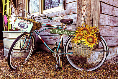 Photograph - Bicycle In The Garden Art Oil Painting With Sunflowers by Debra and Dave Vanderlaan