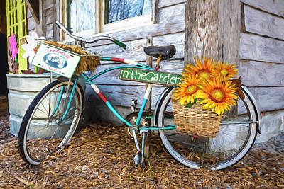 Photograph - Bicycle In The Garden Art Painting With Sunflowers by Debra and Dave Vanderlaan