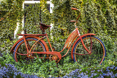 Bicycle In The Garden Art Print by Debra and Dave Vanderlaan