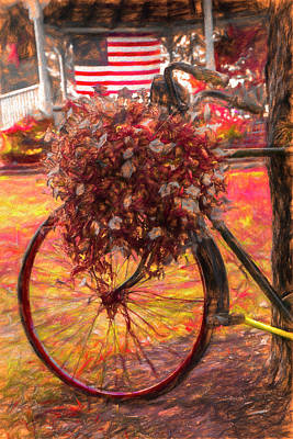 Photograph - Bicycle In The Park Art Warm Tones by Debra and Dave Vanderlaan
