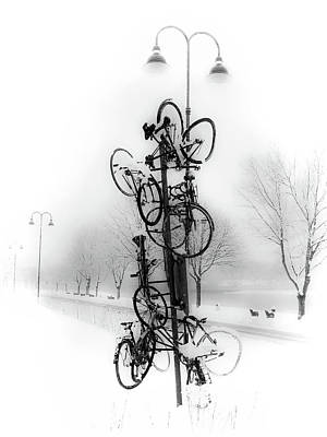 Bicycle Lamppost In Winter Art Print