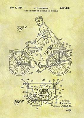 Bike Drawing - Bicycle Light Patent by Dan Sproul