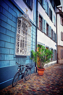 Bicycle On A Cobbled Lane In Basel Switzerland Art Print