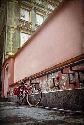 Photograph - Bicycle On A Quiet Street In Warsaw Poland  by Carol Japp