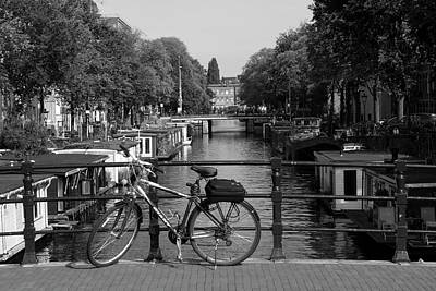 Photograph - Bicycle On An Amsterdam Bridge by Aidan Moran