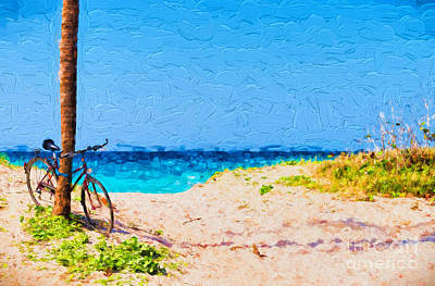 Photograph - Bicycle On Beach by Les Palenik