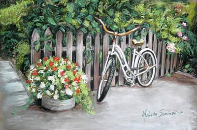 Painting - Bicycle On Fence by Melinda Saminski