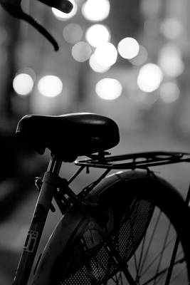 Bicycle On Street At Night In Osaka Japan Art Print by Freedom Photography
