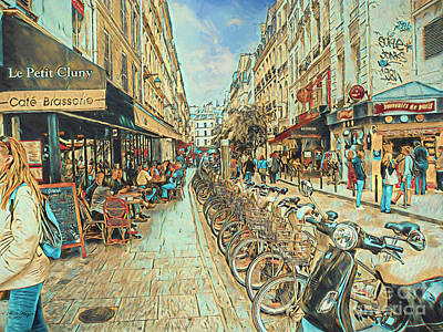 Mixed Media - Bicycle Paris by Bill And Deb Hayes