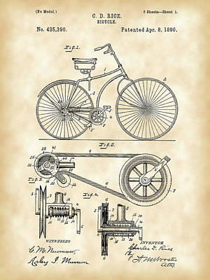 Bicycle Patent 1890 - Vintage Art Print by Stephen Younts